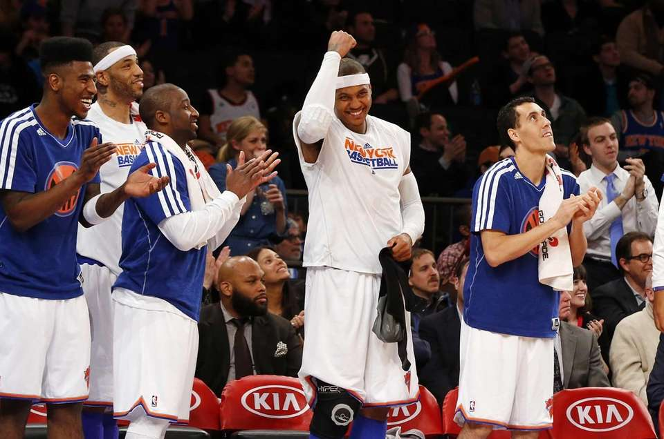 Carmelo Anthony of the Knicks celebrates on the