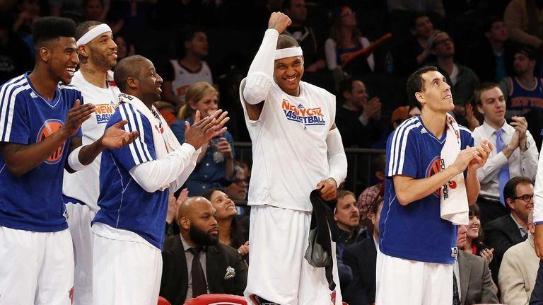 Carmelo Anthony of the Knicks celebrates on the