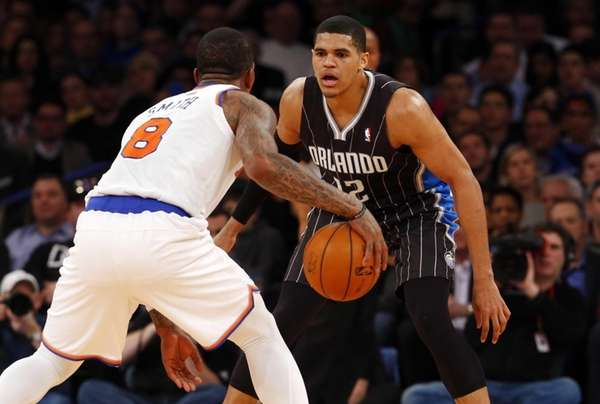 Tobias Harris of the Orlando Magic defends against