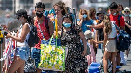 Long Islanders waited on the Long Beach boardwalk