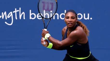 Serena Williams of the US hits a return