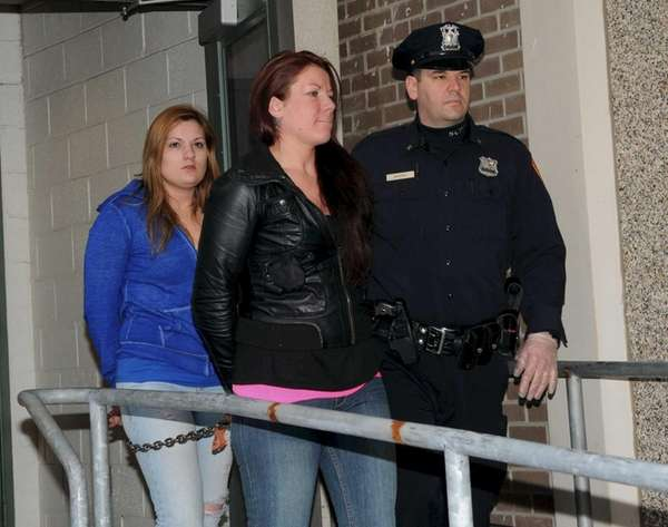 Mothers Tara Riley, 26, of Medford, left, and