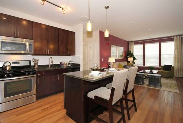The pet-friendly two-bedroom apartment at 130 West Ave.