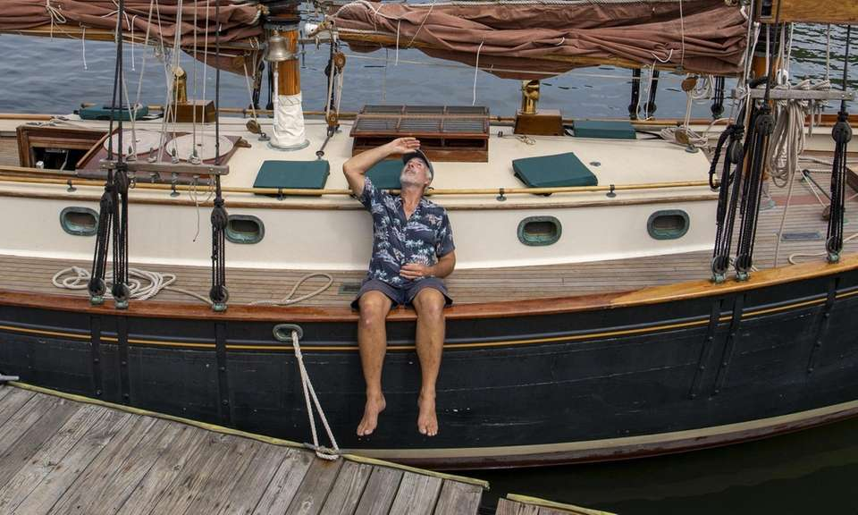 Brian Murphy from East Northport on his Schooner