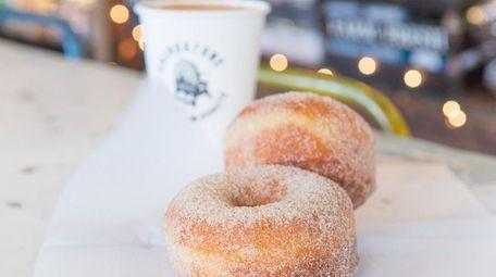 Cinnamon and sugar brioche doughnuts at Grindstone Coffee