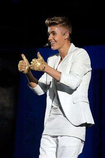Justin Bieber performs during a concert at Bercy