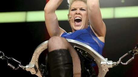 Pink performs during the 2012 iHeartRadio Music Festival