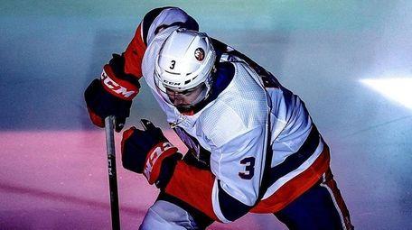 Adam Pelech of the Islanders takes the ice