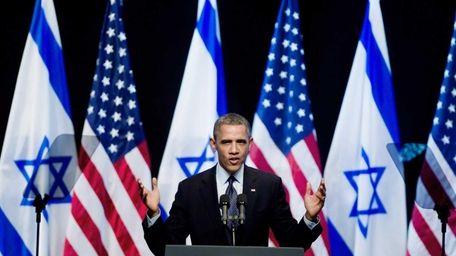 President Barack Obama speaks to Israeli students at