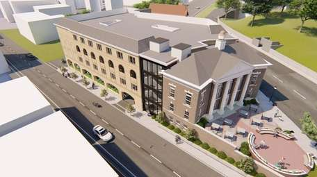 A rendering of the proposed Hampton Inn &
