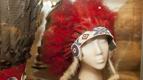 A Shinnecock headdress on display at the Shinnecock