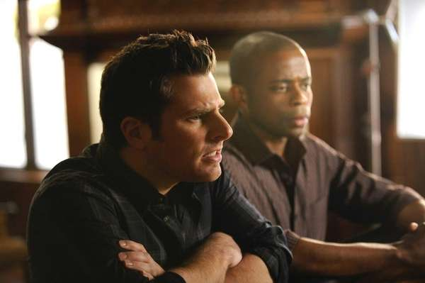 From left, James Roday as Shawn Spencer, Dule