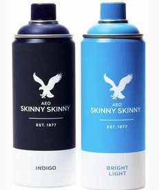 "American Eagle ""Skinny Skinny"" jeans in a can,"