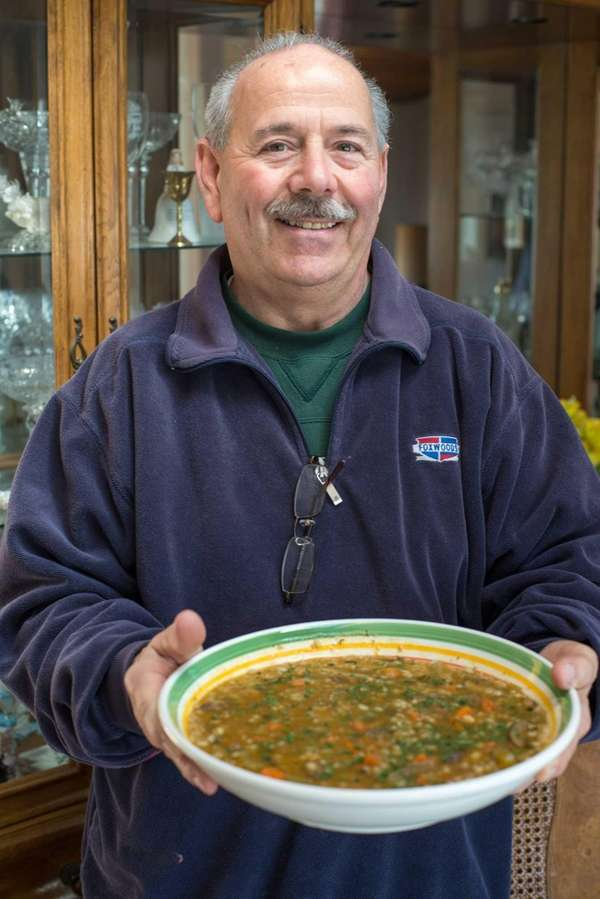 Joe Falzone, 65, with a large hearty bowl