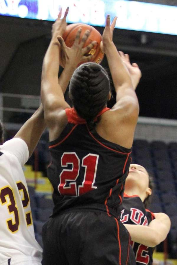 Long Island Lutheran's Sade Gibbons goes up strong