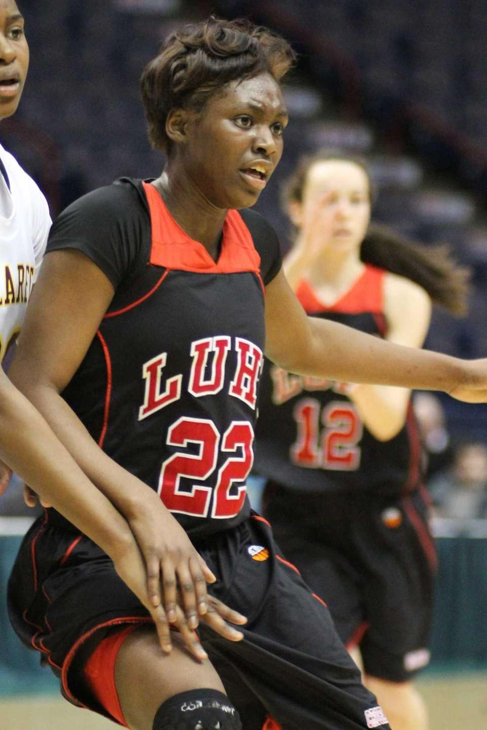 Long Island Lutheran's Staci Barrett fights for position