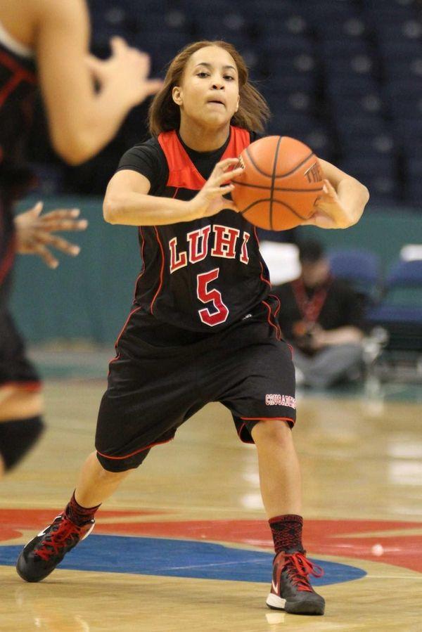 Long Island Lutheran's Kaela Hilaire passes the ball