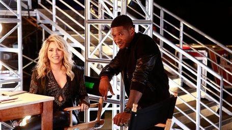 Judges Shakira and Usher backstage at