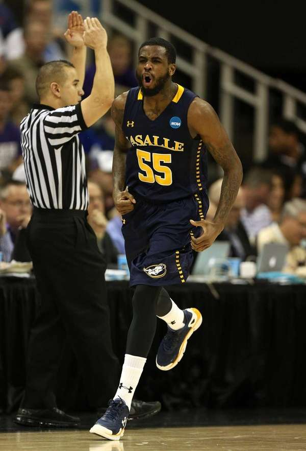 Ramon Galloway of the La Salle Explorers reacts
