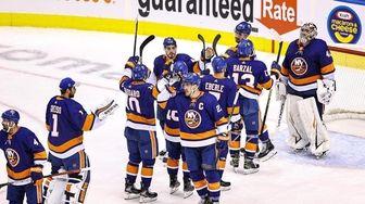 The New York Islanders celebrate their 3-1 victory