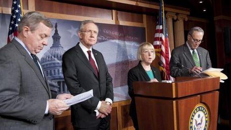 Sen. Dick Durbin, D-Ill., left, Senate Majority Leader