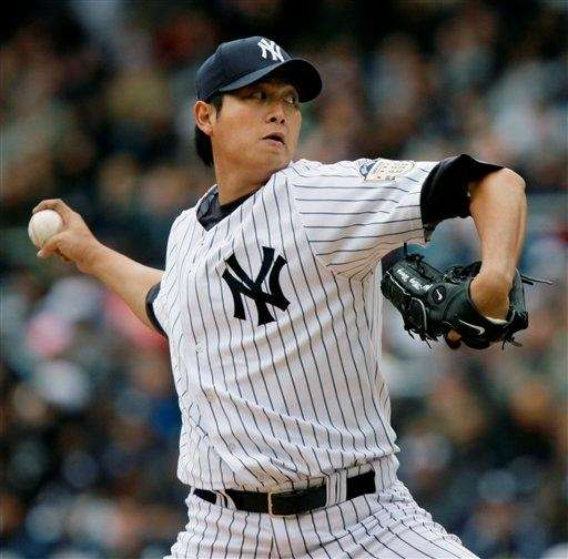 Yankees pitcher Chien-Ming Wang winds up in the