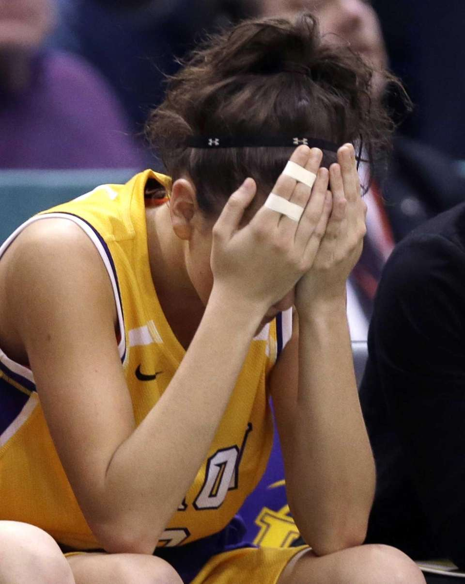 Troy's Meg Driscoll reacts at the end of