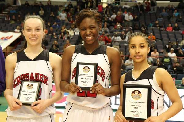 Long Island Lutheran's Katie Lavelle, Staci Barrett and
