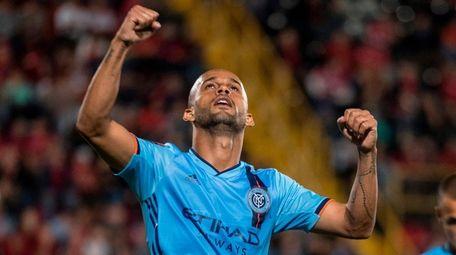 New York City FC's Heber Araujo celebrates a