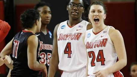 Dayton's Andrea Hoover (24) and Olivia Applewhite (4)