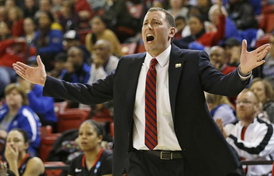 St. John's head coach Joe Tartamella reacts to