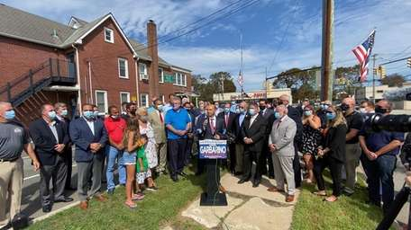 Long Island Republicans hold a news conference to