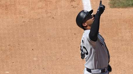 Gleyber Torres of the Yankees celebrates after hitting