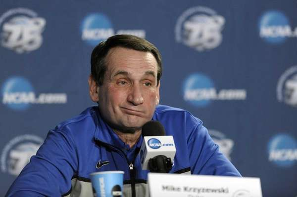 Duke head coach Mike Krzyzewski reacts during a