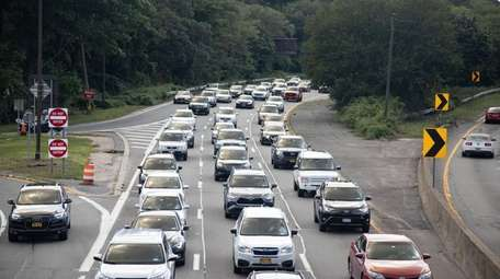 Motorists heading east jam the Southern State Parkway