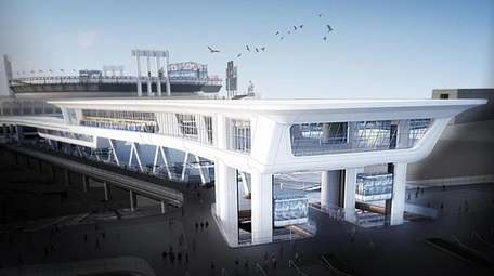 The exterior of the proposed AirTrain terminal at