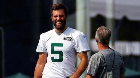 Jets quarterback Joe Flacco during a practice at