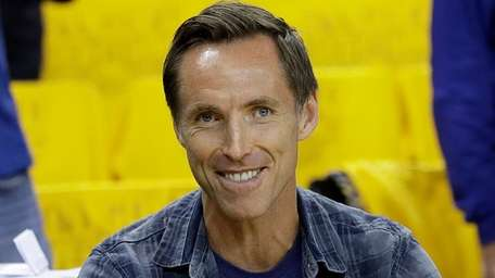 Steve Nash gestures before Game 5 of the