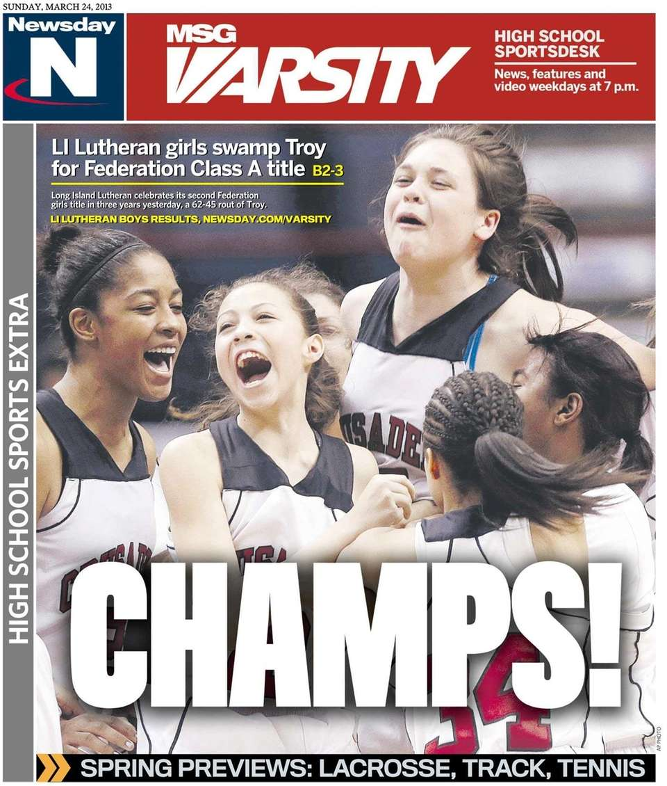 The Long Island Lutheran girls basketball team's state