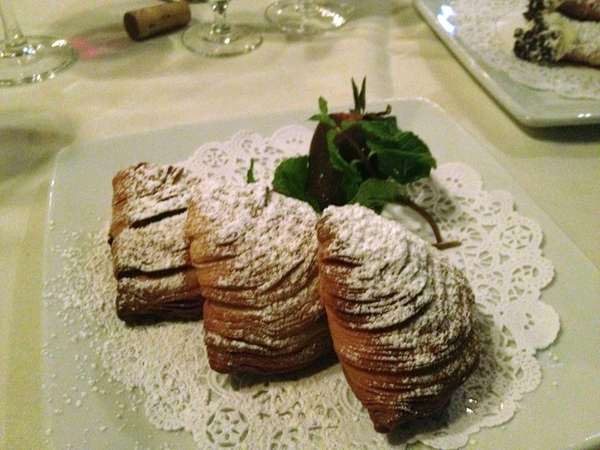 Warm sfogliatelle highlight the desserts at La Pace