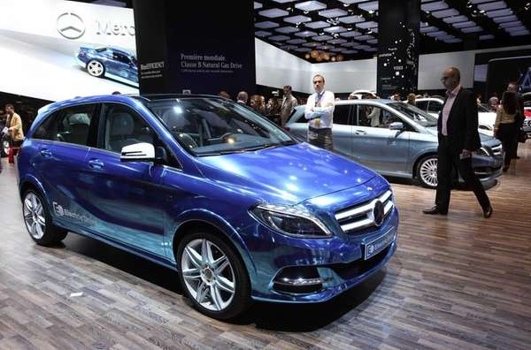 Paris Motor Show attendees view the Mercedes-Benz B