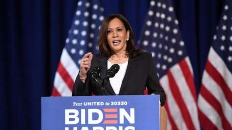 Kamala Harris, the Democratic vice presidential candidate, speaks