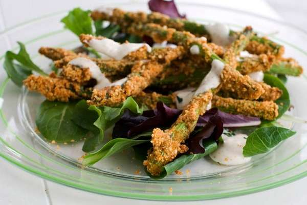 Almond-crusted, bake-fried asparagus. (March 11, 2013)