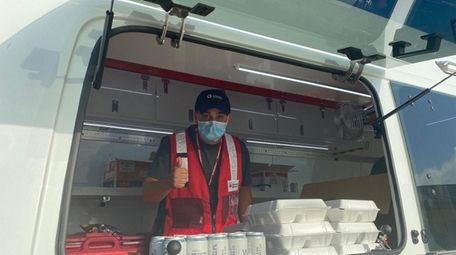 Red Cross volunteer Nick Montoro, 22 of Syosset,