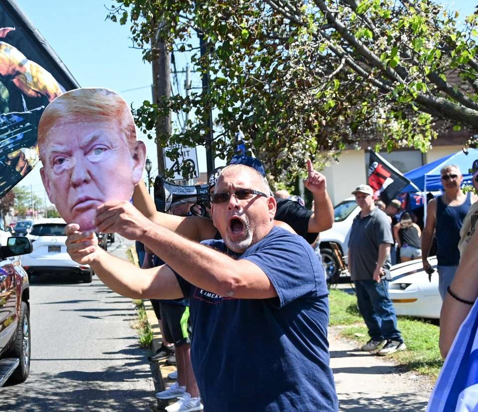 A Trump supporter at pro-Trump rally in Copiague
