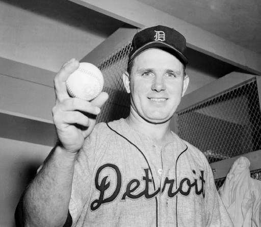 Detroit Tigers pitcher Virgil Trucks holds a ball