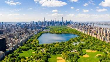 An aerial view of Central Park in Manhattan.