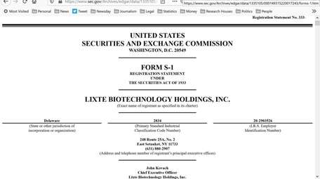 The Lixte Biotechnology Holdings' SEC filing. The company