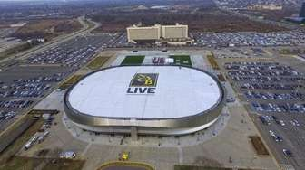 An aerial view of NYCB Live's Nassau Coliseum
