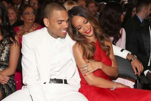 Chris Brown and Rihanna at the 55th Grammy